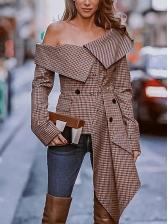 Fashion Inclined Shoulder Plaid Irregular Ladies Blouse