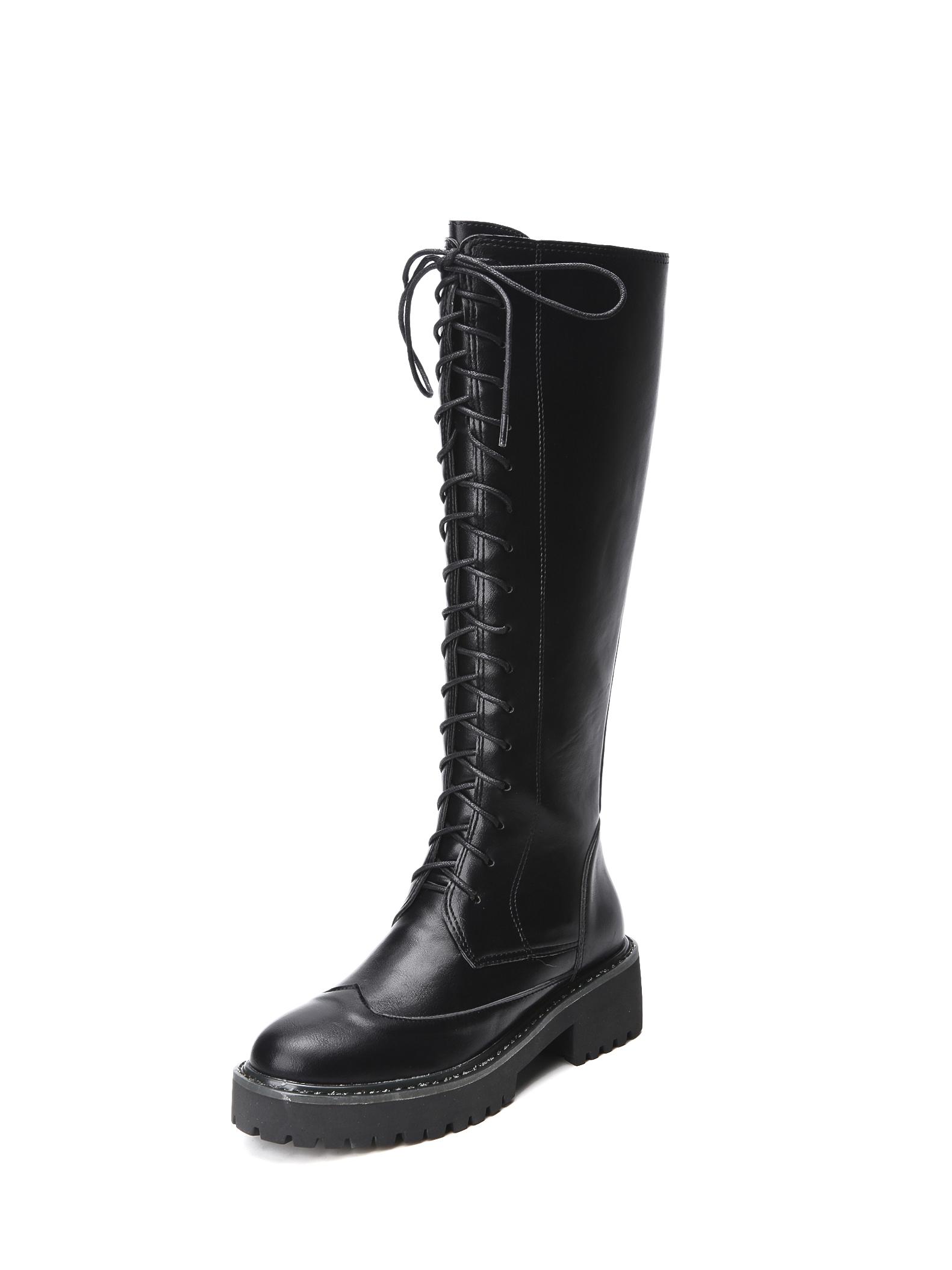 Round Toe Bandage Black Mid Calf Boot