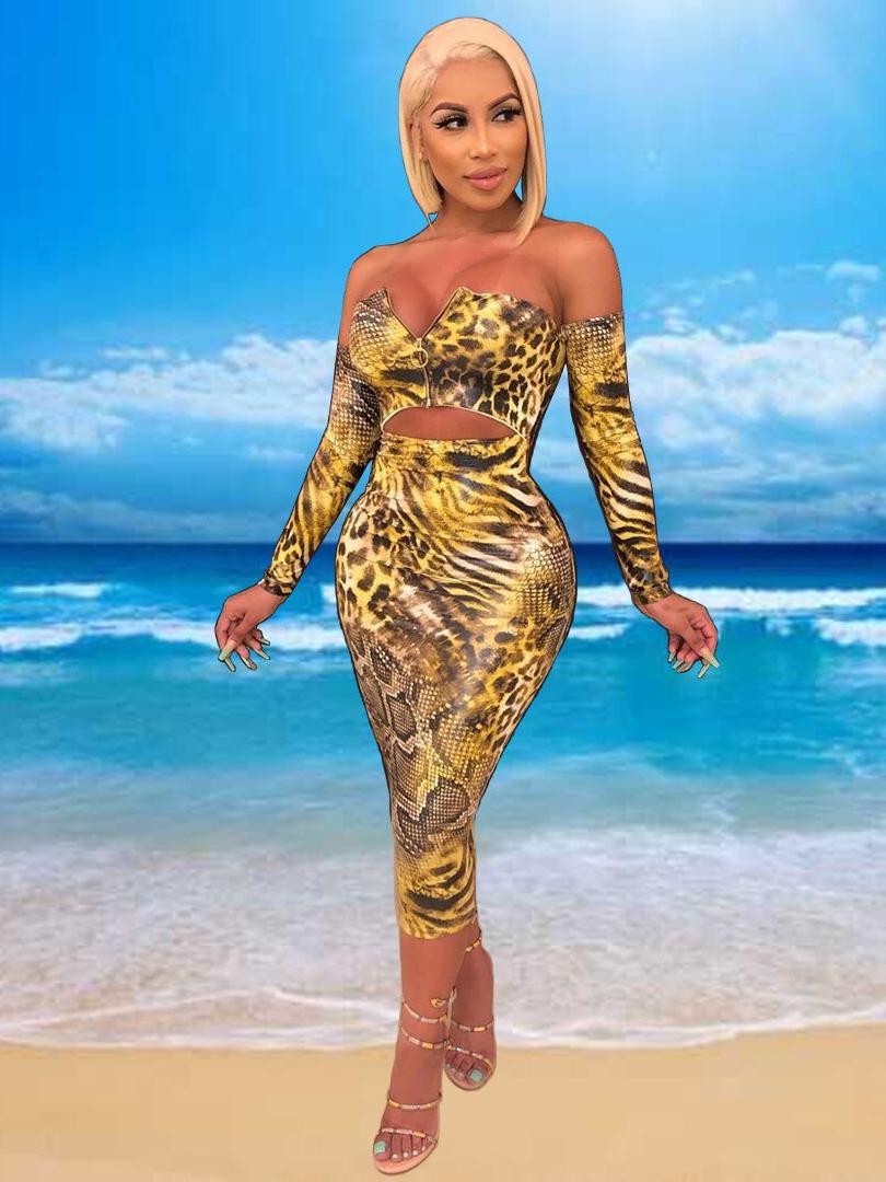 Sexy Animal Printed Zipper Up Slim 2 Piece Skirt Set