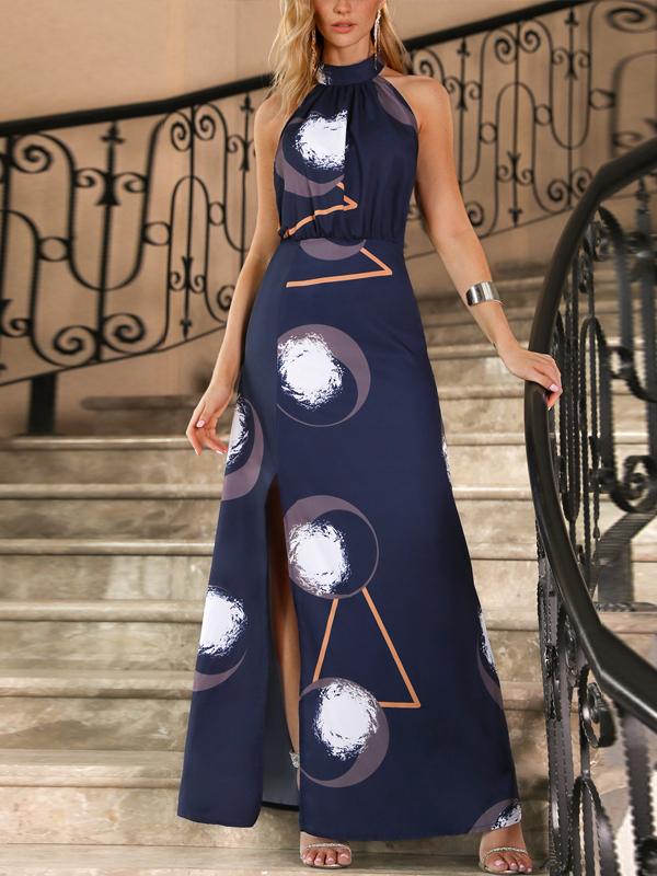 Halter Backless Slit Printed Maxi Dresses