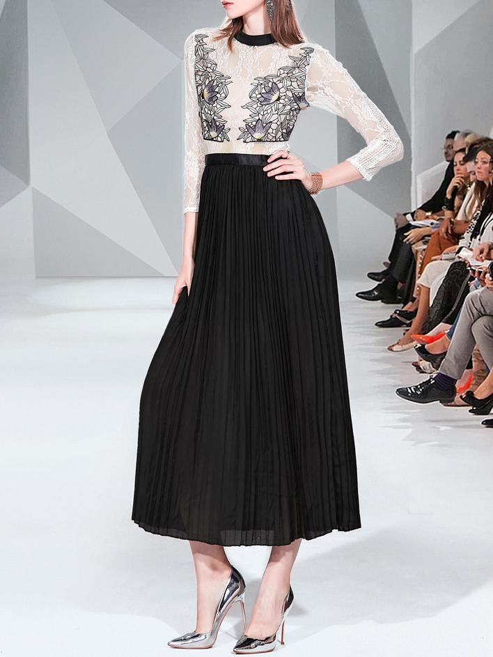 Fashion Embroidery Pleated Maxi Dress