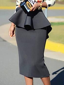 Ol Style Ruffled Black Pencil Skirt