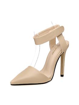Solid Ankle Hook Loop Velcro Stiletto Heel
