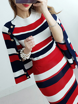 Contrast Color Striped Knitting Three Piece Outfits