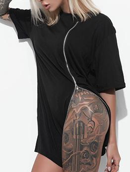 Solid Side Zipper Short Sleeve Dress