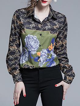 Vintage Single-Breasted Flowers Printed Ladies Shirt