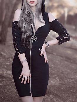 Backless Hooded Collar Zipper Up Women Dresses