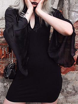 Retro Cheongsam Design Flare Long Sleeve Dress