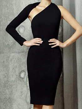 Sexy One Shoulder Bodycon Sim Fit Dresses