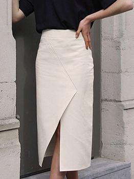 Trendy Solid Color Split Midi Skirt
