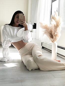Stylish Solid Long Sleeve Ladies Blouse