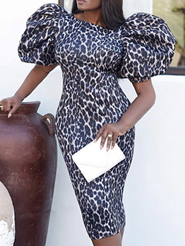 Puff Sleeve Leopard Printed Party Dress