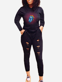 Printed Hooded Long Sleeve Sports Clothing