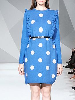 Stringy Selvedge Polka Dots Knitting Dress