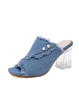 Denim Peep Toe Pearl Deco Crystal Chunky Heel