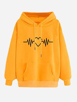 Solid Heart Beat Printed Pullover Hoodie