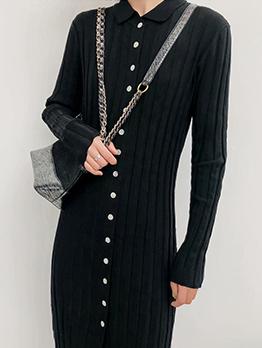 Doll Collar Single-Breasted Black Knitting Dress