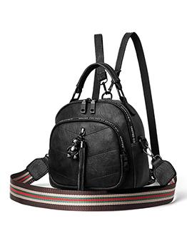 Practical Tassel Decor Backpack With Striped Belt