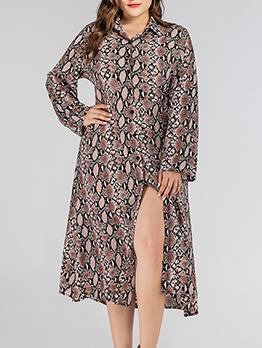 Snake Printed Split Hem Long Sleeve Plus Size Dress