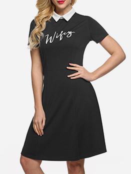 Polo Neck Printed Short Sleeve Dress