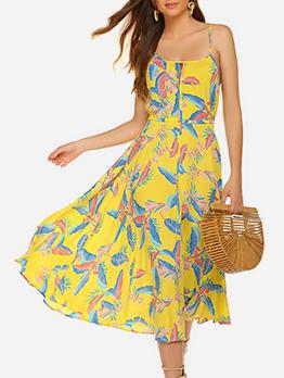 Bohemian Spaghetti Strap Drawstring Backless Midi Dress