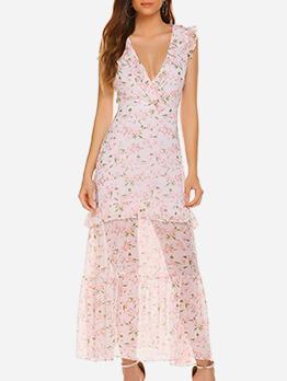 Bohemian Drawstring Ruffled V Neck Floral Maxi Dress