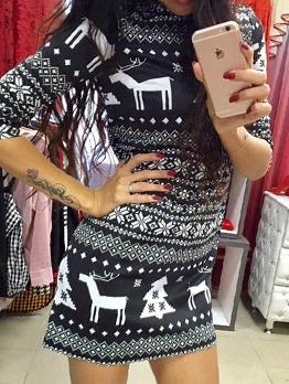 Christmas Printing Half Sleeve Mini Dress