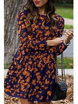 Causal Printed Long Sleeve Short Dress