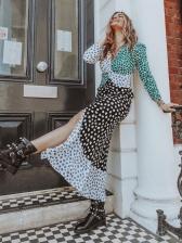 Retro Polka Dots Contrast Color Chiffon Maxi Dresses