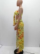 Letter Printed Binding Strapless 2 Piece Skirt Set