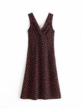 Vintage Floral v Neck Sleeveless Midi Dresses