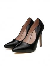 Patent Leather Stiletto Black Slip On Heel