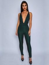 Glitter Deep V Neck Sleeveless Jumpsuits For Women