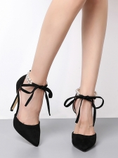 Ankkle Bow Faux Pearl Decoration Pointed Toe Stiletto Heel