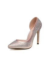 Glitter Rivet Solid Pointed Toe Girls High Heels