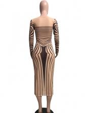 Round Collar Slim Striped Long Sleeve Dress