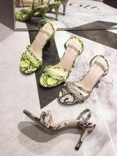 Animal Printed Peep-toe Ankle Strap Comfortable Sandals