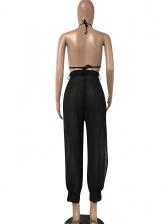Sexy Backless High Split Black Halter Jumpsuit