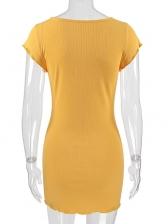 Euro Solid Short Sleeve Pencil Dresses