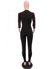 Perspective Sheer Patchwork Slim Black Jumpsuit