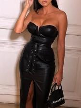 Seductive Strapless Split Pu Solid Dresses