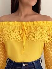 Gauze Hollow Out Off Shoulder Long Sleeve Blouse Design