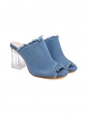 Fashion Solid Denim Perspex Chunky Slip On Heel