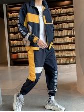 Casual Pockets Contrast Color Men Activewear