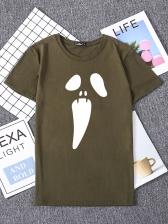 Halloween Grimace Print Short Sleeve Cotton T Shirt