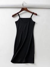 U Neck Solid Sleeveless Straps Bodycon Dress