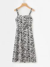 Square Neck Zebra Striped Printed Ladies Dress