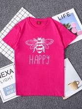 Honeybee Print Short Sleeve T Shirt For Women
