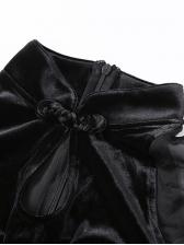 Mock Neck Lantern Sleeve Bodycon Black Dress