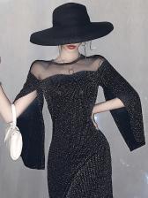 Gauze Patchwork Glitter Cloak Party Dress